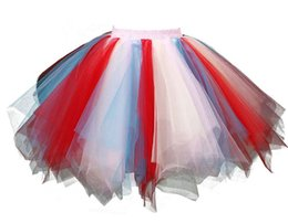 Wholesale Short Prom Dress Bubble - Rainbow Halloween Customes For Women Tutu Skirt Dress For Prom Party Colorful 1950s Vintage Short Tulle Petticoat Ballet Bubble Puffy Tutus
