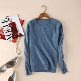 Wholesale Top Brand Wool Sweaters - Wholesale- High Quanlity Women Sweaters Winter 100% Pure Goat Cashmere Pullover 2016 New Brand Fashion O-neck Knitwear Female Tops Clothes