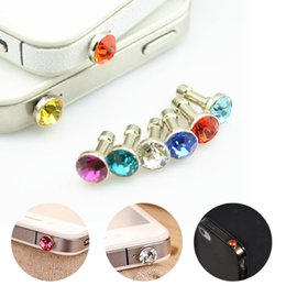 Wholesale Earphones Crystals - Universal 3.5mm Crystal Diamond Anti Dust Plug Dustproof Earphone Jack For Iphone 5 6s 6s plus Smartphone