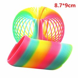 Wholesale Springs For Toys - Wholesale- 8.7*9cm Colorful Funny Classic Toy For Children Gift Hot Sale Large Magic Plastic Slinky Rainbow Spring Kids Toy