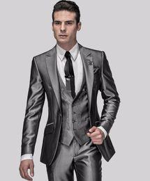 Wholesale Men S Grey Button Vest - New Style Slim Fit Groom Tuxedos Shiny Grey Best man Suit Notch Lapel Groomsman Men Wedding Suits Bridegroom (Jacket+Pants+Vest)