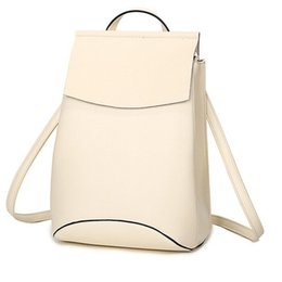 Wholesale Cow School Bags - Wholesale- Women Genuine Leather Bag Woman Bag Cow Leather Real Leather Backpacks Solid Girl Students School Bag Women Casual Style WH8175