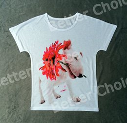 Wholesale T Track Wholesale - Wholesale- Track Ship+Vintage Retro Good Feeling T-shirt Top Tee White Bull Terrier Dog with A Red Flower in Mouth 0826