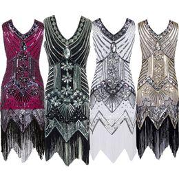 Wholesale Gatsby Costumes - Women Dresses Summer Vintage Costume Dress Women Tassel Gatsby Charleston Sequin Party Latin Dance Dress Plus Size