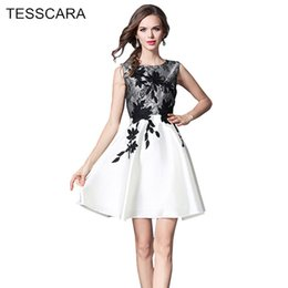 Wholesale Lace Sundress Spaghetti Strap - Women Summer Elegant Office Dress Female Fashion A-Line Lace Vestidos Retro Robe Femme Casual Clothing White Brief Sundress
