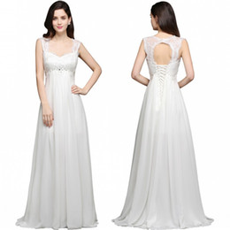 beaded lace modest wedding dress Canada - Bohemia Beach Modest Wedding Dresses 2017 Chiffon Lace Beaded Vestidos De Novia Off The Shoulder Lace-Up Court Train CPS641