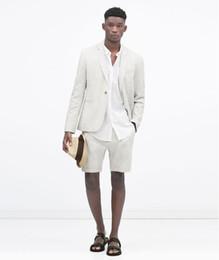 Wholesale White Linen Suit Jacket - Wholesale- Latest Coat Pant Designs White Casual Linen Suit For Men Custom Summer Short Pants Slim Fit Beach 2 Piece Terno Jacket+Pants 158