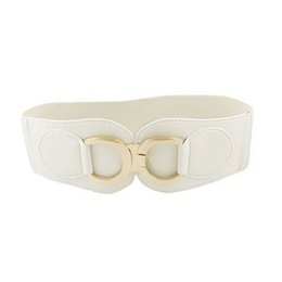 Wholesale Wholesale Elastic Belts For Women - Wholesale- SAF 2016 NEW 28-33inches Gold Tone Dual D Ring Buckle Off White Wide Elastic Belt For Women