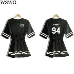 Wholesale Korea Top Tee - Wholesale-2016 Korea Women T-shirt Dress Letter Print BTS Shirt For Lady Tops Tee Hipster Female Long T shirts Black White T shirt 61698