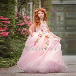 dreamlike wedding dress prices - 2017 Princess Pink Flower Girl Dress Dreamlike 3D Floral Ball Gown First Communion Dress Girls Pageant Dresses Pretty Prom Party Gowns