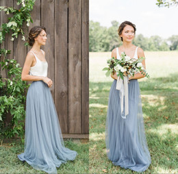 Wholesale Vintage Bridesmaids Gowns - Vintage Bohemian Two Pieces Bridesmaid Dresses 2017 Beach Wedding Maid of honor Floor Length Long Formal Gowns Scoop Neck Sleeveless Tulle