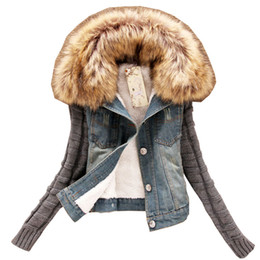Discount buttons for jeans - Wholesale- New Long sleeve Women Jeans Jackets 2016 Autumn Winter Denim Coat Vintage Ripped For Women Clothing chaquetas Fur collar