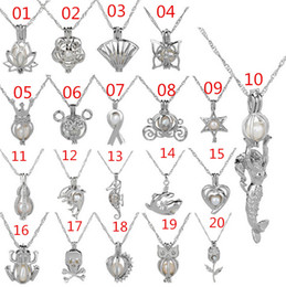 Wholesale Necklace Heart Pendant Hollow - 20 Style Love Wish Pearl Cages Pendant Necklace Hollow Out Freshwater Necklaces Silver Plated DIY Fashion Jewelry A012