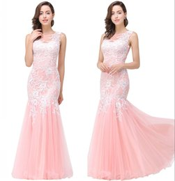 Wholesale Evening Dresses Colors - 8 Colors Cheap Delicate Evening Dresses 2017 Vintage Lace Appliques Mermaid Party Gowns Sexy Back Beautiful Bridesmaid Dresses CPS360