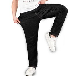 Wholesale 4xl Tall - Wholesale- Men's Black Stretch Jeans Plus Size Straight Denim Pants Trousers for Men Big and Tall 40 42 44 46 48