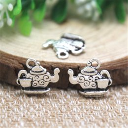 Wholesale Tea Charms Wholesale - 20pcs- Tea Pot Charms , Antique Tibetan silver Teapot Charms With Little Tea Cup charms pendants 15mm x 13mm