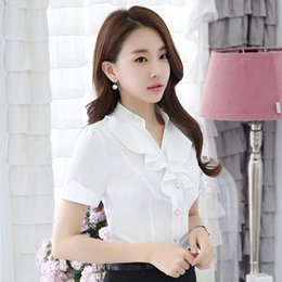Wholesale Office Blouses Collars - 2017 Summer New Elegant Short Sleeve Women's Shirt OL Stand Collar Chiffon Ruffles Blouse Ladies Office Plus Size Formal Tops