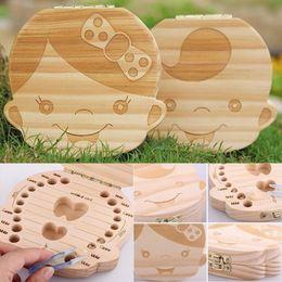 Wholesale Tin Box For Kids - Kids Tooth Box Organizer Baby Save Milk Teeth Wood Storage Box For Boy Girl Wooden Box