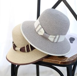 Wholesale Korean Straw Cowboy Hat - The new Korean version, along the sun mixed color straw hat, ladies travel, sun hat, summer tide beach, fisherman basin cap wholesale
