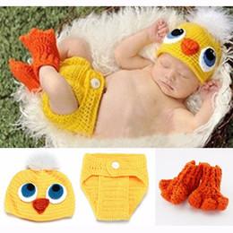 Wholesale Crochet Bird Hats - Newborn Crochet Baby Photography Props Handmade Children bird Beanie Hat Shorts and Shoe Set Toddler Costume BH-1087