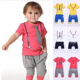 Wholesale Track Pants Children - Boys 2Pieces Sleeveless Suits 2Y-6Y T-shirt Top+Pants Shorts Set Foy Boys Children Clothing Sport Sets Sport Pants Trousers Track Suit
