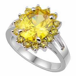Wholesale Plate Suppliers - Fashion Jewelry and Accessories supplier Sparking Natural Yellow Zircon 925 silver Rings CR0254
