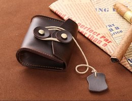 Wholesale Handmade Cowhide Purses - Wholesale- Unisex Genuine Leather Coin Purse Original Handmade Cowhide Leather Mini Wallets Coin Bag Women Change Purse Men Change Wallet