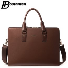 Wholesale Portable Computer Laptop - Wholesale- BOSTANTEN New LEATHER Men Bag Leisure Men's Bag Business Messenger Bags Portable Briefcase Laptop Purse 14 Inch Handbag Brand