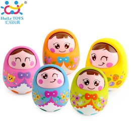 Wholesale Baby Poly - Wholesale- (Set of 2) Kids Musical Nevalyashka Tumbler Toy Infant Cartoon Doll Roly-poly Tumbler Baby Toy with Sound Children 1-3 Year Old