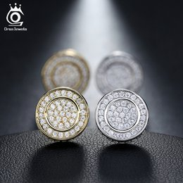 Wholesale Micro Pave Zirconia - Classic Platinum Plated Silver Stud Earring Micro Paved AAA Austrian Cubic Zirconia for Party Fashion Women Jewelry OE130