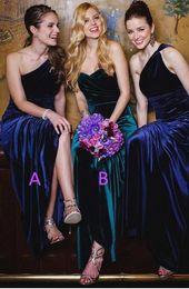 Wholesale Purple Velvet Bridesmaid Dresses - 2018 New One Shoulder Velvet A Line Bridesmaid Dresses Ruched Floor Length Long Formal Party Bridesmaid Evening Dresses