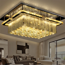 Wholesale New Modern Chandeliers - New modern rectangular LED crysal chandelier ceiling Light mounted crystal Pandant lamp fixutres foyer luxury chandeliers lighting fixtures