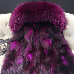 Wholesale women down parka fur lined - Women's Short Furs Down Parkas hooded with Raccoon Fur collar + real fox fur Lining, Korean UK USA