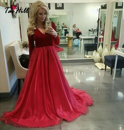 Wholesale Evening Long Sleeves Winter Dress - Tao Hill Formal Evening Gowns Dresses A-line V-neck Long Sleeves Dark Red Velvet Evening Party Dress ED007