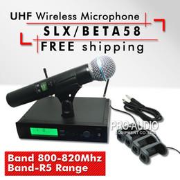 Wholesale Slx Wireless - Free Shipping!! Professional UHF Wireless Microphone SLX24 BETA58 High Quality SLX Cordless 58A Handheld Karaoke Wireless System