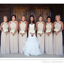 2017 Champagne Bridesmaid Dresses Chiffon A Line Long Straps Maid Of Honor Gowns Floor Length Weddings Guest Dress Cheap Price