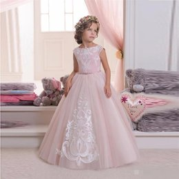 Wholesale Hot Pretty Girls - Hot Pretty Pink Lace Flower Girls Dresses For Weddings And Party Ball Gown Tulle Appliques Tank Cheap Girls Long Pageant Dress