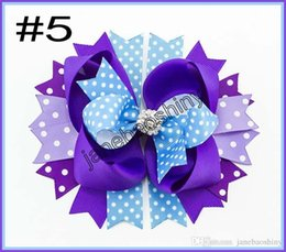 "Wholesale Over Top Hair Bows - free shipping 30 pcs 4.5""-5""GLAM over the top layered BRIGHT and rhinestone hair bow clip."