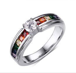Les cristal on-line-Estilo europeu Arco-íris Les Cristal Anéis De Prata Mulheres Jóias De Casamento Anel de Banda Diamante CZ Anéis De Aço De Titânio De Noivado
