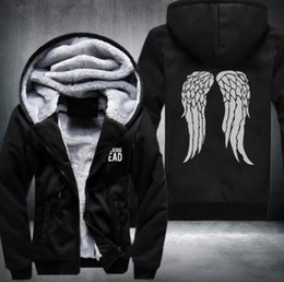Wholesale Walking Dead Daryl Dixon - New The Walking Dead Hoodie Zombie Daryl Dixon Wings Winter Fleece Mens Sweatshirts USA Size