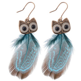 Wholesale Earing Pair - 12 Colors Womens Owl Peacock Feather Pierced Earrings Hot selling Fashion Owl Earing 24 pcs lot (12 pairs)