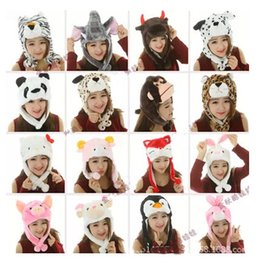 Wholesale Hat Fluffy - Children's winter cartoon Animal hats designer kids Props perform fluffy hat earflaps Wind keep warm caps for boys girls 2017 fashion