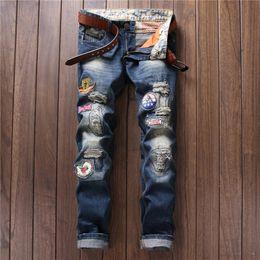 aeb4149fdbf Famous Brand Mens Jeans Trendy Stretch Blue Denim Men Slim Fit Jeans  Trousers Pants Size 30 32 34 35 36 38 Jean