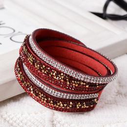 Neue Mode 6 Schicht Wrap Armbänder Slake Lederarmbänder für Frauen Mit Kristallen Handgemachte Strass Kette Paar Schmuck von Fabrikanten