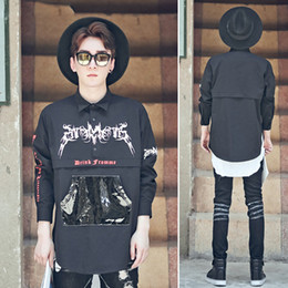 Wholesale Leather Hoodie Shirts - New Letter Print Shirt Collar PU Leather Patchwork Male Sweatshirt Hoodie Spring Harajuku Pocket Design Kanye West Hoodie