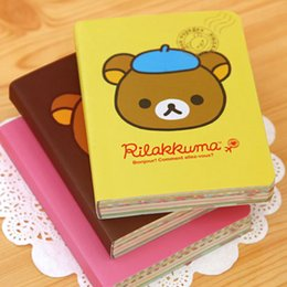 Wholesale Rilakkuma Notepad - Wholesale- Kawaii Cartoon Rilakkuma Print Cover Color Page Mini Notebook Diary Notepad Travel Book KCS