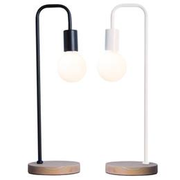 Wholesale Reading Lights For Bedside - Led Desk Lamp Wood Iron art Table Lamp Desk Light Wooden Metal Lighting E27 For Bedroom Bedside Reading Table Lamp Lighting