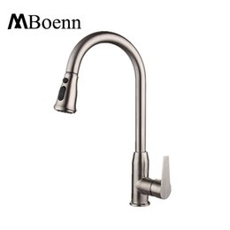 Wholesale Wholesale Stainless Steel Tap - 360 Degree Rotation Pull Down Kitchen Faucet With Two Spouts Handheld Shower Brushed Kitchen Mixer Tap Deck Mounted