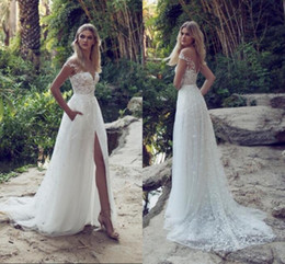 Wholesale Jewels Off Shoulder Dress - 2017 New Limor Rosen A-Line Lace Wedding Dresses Illusion Bodice Jewel Court Train Vintage Garden Beach Boho Wedding Party Bridal Gowns
