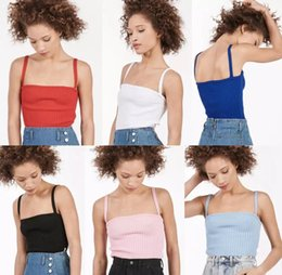 Wholesale Solid Color Vintage Summer Tops - Wholesale-2016 sexy harajuku omighty unif vintage retro summer style pink tight knit halter camisole women tops 6 color backles tank tops